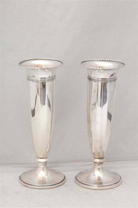 Silver Vases For Sale Pair Of Edwardian Sterling Silver Vases For Sale At 1stdibs