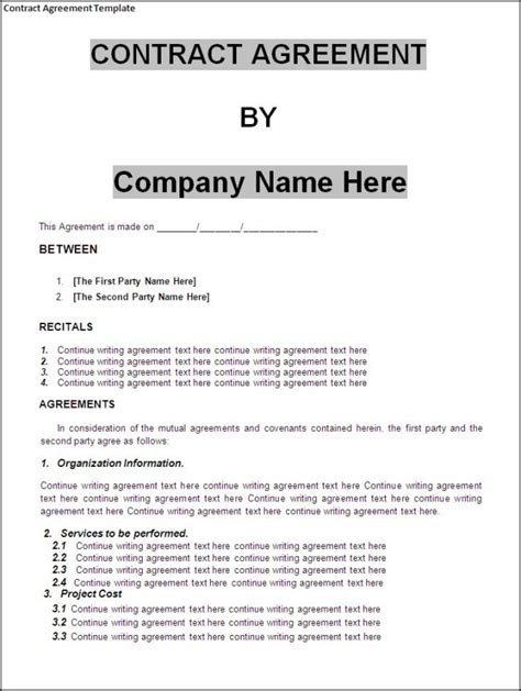 Agreement Letter Sle Template Looking Template Sle For Contract Agreement With Recitals And Agreements Thogati