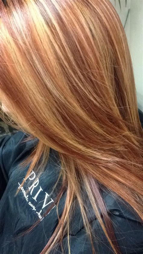 hairstyles blonde with red highlights copper red hair color with golden blonde highlights