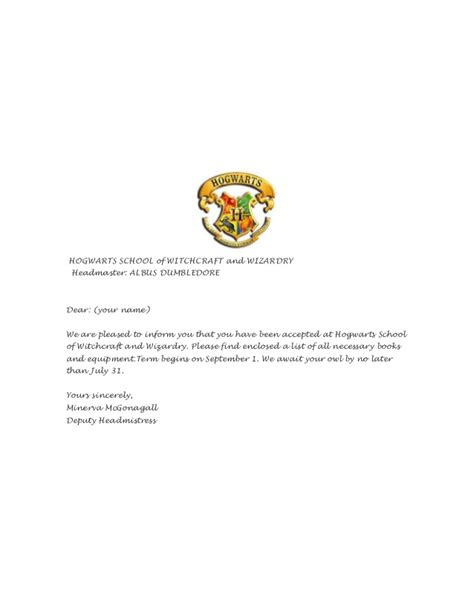 Acceptance Letter For Hogwarts School Of Witchcraft And Wizardry Letter From Hogwarts School Of Witchcraft And Wizardry