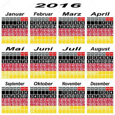 German Kalender 2016 Germany Calendar Of 2016 Stock Vector 169 Liluly332201