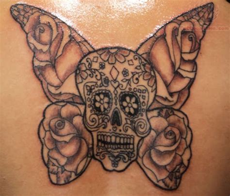 skull butterfly rose tattoo sugar skull tattoos designs ideas page 11