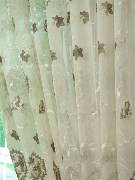 sheer curtains with embroidered flowers elbert flowers embroidered custom made sheer curtains