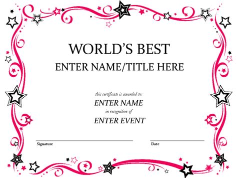 award word template word achievement award certificate