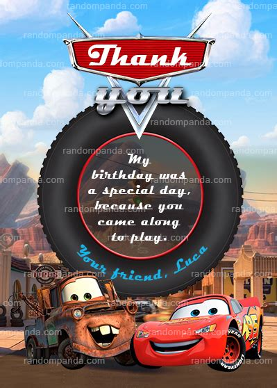 lightning mcqueen thank you cards printable cars thank you card lightning mcqueen thanks mater thank