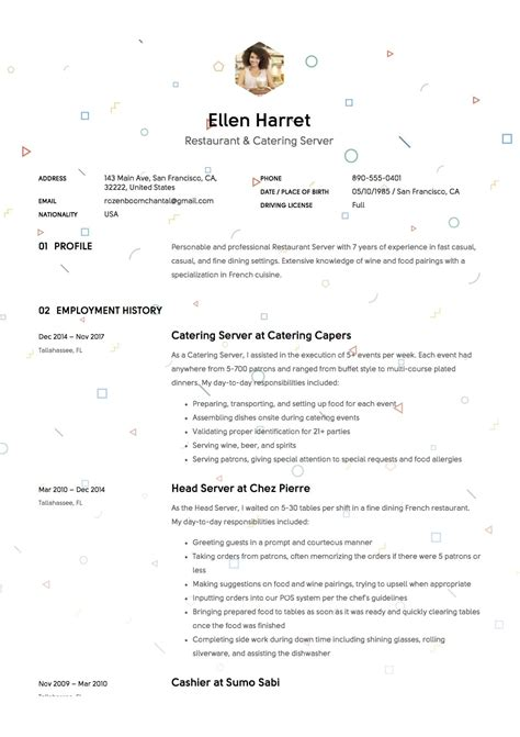 sle resume for restaurant server restaurant waiter