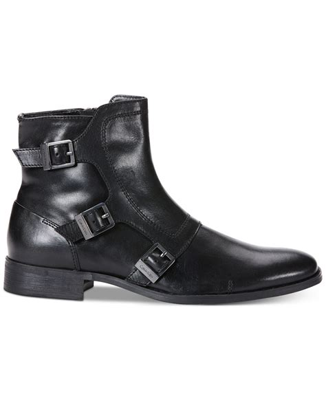 Ck Leather calvin klein stark leather boots in black for lyst