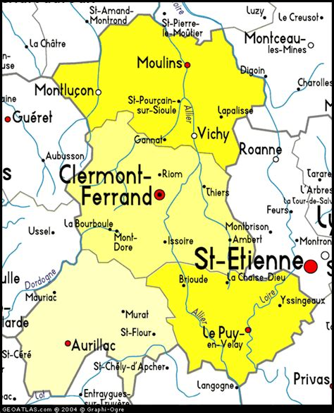 auvergne geography region map map  france political