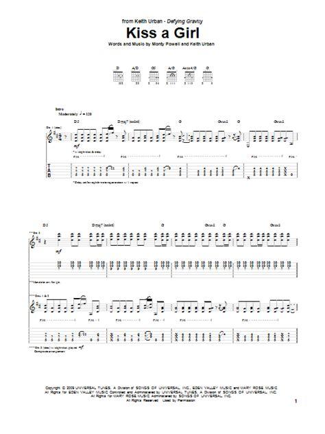 printable lyrics to kiss the girl kiss a girl sheet music direct