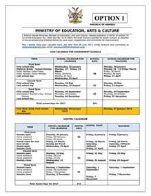 Calendar 2018 Namibia 2018 Draft School Calendar For Schools Naadmissions