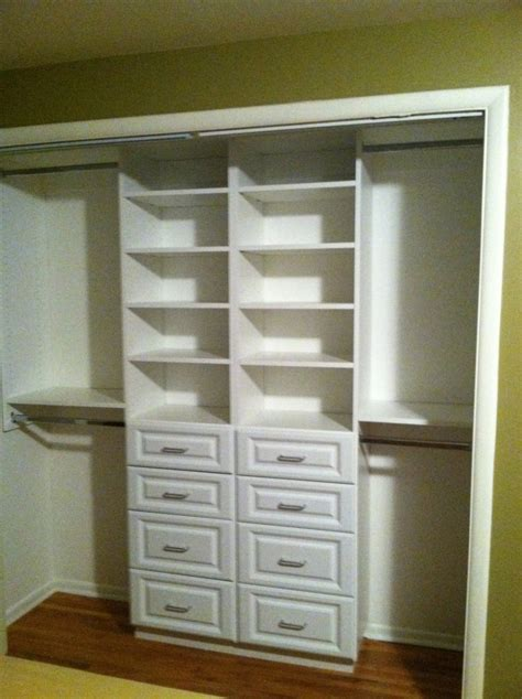 Closet Maker Compact White Small Closet Design With Drawer And Shelving