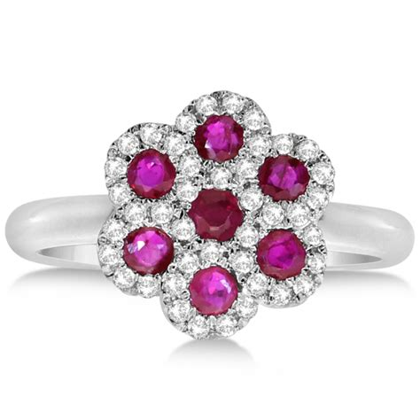 Ruby 4 35ct ruby flower cluster fashion ring 14k white gold