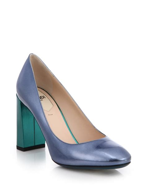 Patent Pumps lyst fendi two tone metallic patent leather pumps in blue