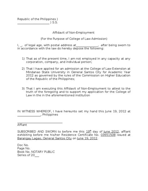 Affidavit Of Support Sle Letter From Employer Affidavit On Non Employment Doc