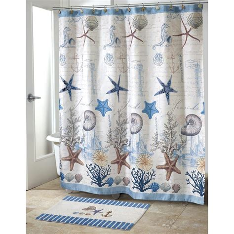 seashore bathroom decor antigua nautical bath set 5 piece coastal decor shower curtain rug and more