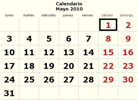 Calendario Mayo 2009 Calendario Mayo 2010 Definanzas