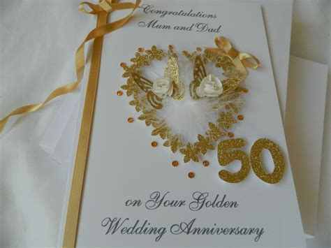 Personalised Handmade Card 50th Golden Wedding Anniversary