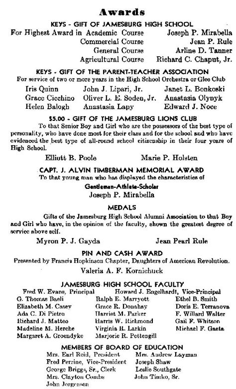 Sle Jamesburg High School Graduation Program 1947 High School Graduation Program Template
