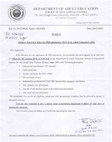 School Admission Confirmation Letter admission letter phd