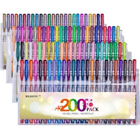 colored gel pens reaeon 200 colored gel pens set unique colors more ink