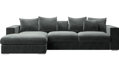 long sofa with chaise chaise long sofa black silver velvet crystal