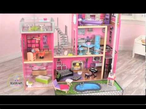 uptown doll house kidkraft luxury uptown mansion dollhouse 35 pc of furniture youtube
