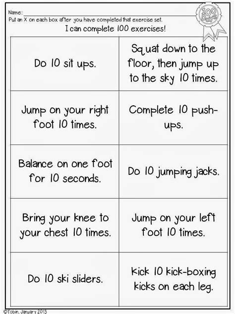 freebie 100th day of school exercise sheet miss p