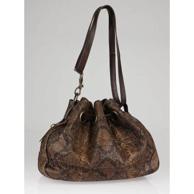 Limited Edition Python Heloise Bag by Christian Limited Edition Marron Fonce Python Cannage