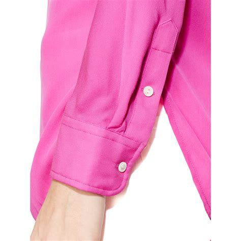 Blouse Batik By Ratoe Modern bright pink silk blouse lace henley blouse