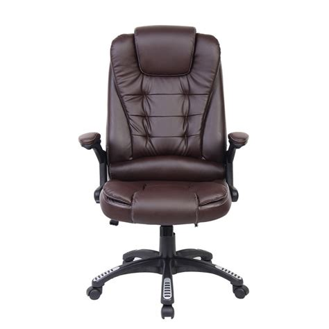 office chair recline brown faux leather recline swivel executive computer