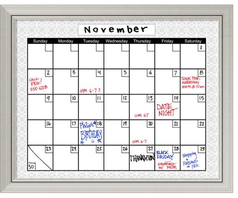 Calendar Board For Calendar Framed Erase Board Medallion Grey
