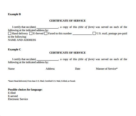 Service Certificate Template Free Certificate Of Service Template 8 Free