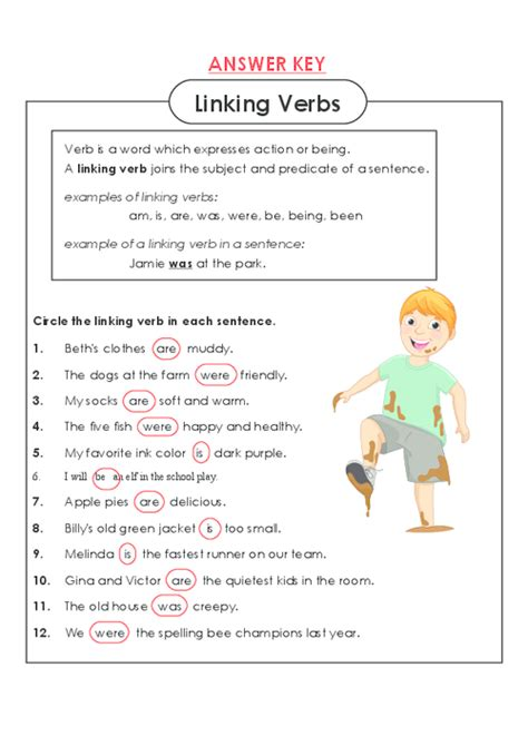 Linking And Verb Worksheets With Answer Key
