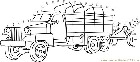 printable dot to dot truck army truck dot to dot printable worksheet connect the dots