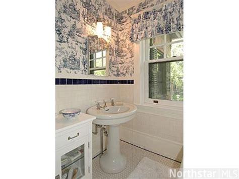 black and white toile wallpaper bathroom blue and white toile wallpaper and pretty tiles are