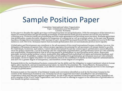 writing position paper model un overview ppt