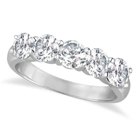 five ring anniversary band 14k white gold 2 00ct