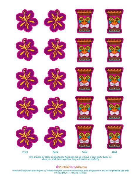 free printable luau party decorations party planning center free printable luau cocktail picks