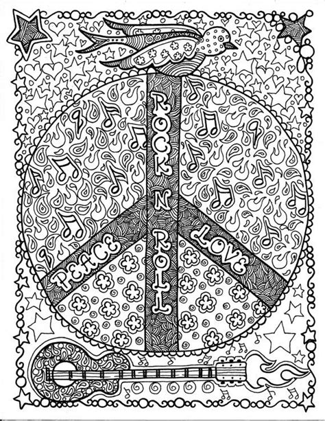 instant download rock and roll peace coloring page art