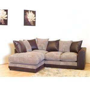 destiny corner sofa in comfy brown and beige jumbo cord