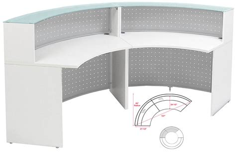 White Curved Reception Desk White 180 176 Half Curved Glass Top Reception Desk