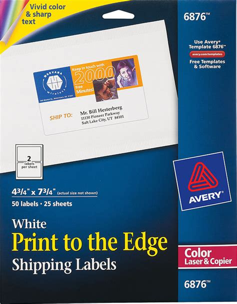 Avery 174 Print To The Edge Shipping Labels 6876 Avery Online Singapore Avery Coupon Template