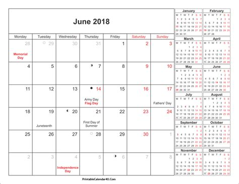 printable calendar 2018 with holidays june 2018 calendar printable with holidays pdf and jpg