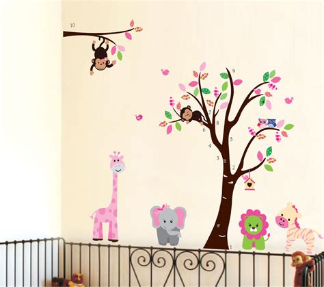 nursery wall decor stickers large monkey owl animal tree wall decal removable