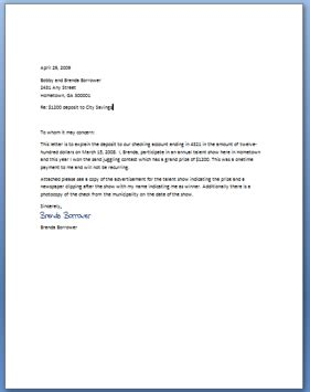 Sle Letter Of Explanation For Derogatory Credit For Employment Letter Of Explanation For Large Deposit Mortgage Loan