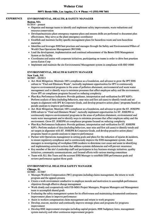 Environmental Health & Safety Manager Resume Samples   Velvet Jobs