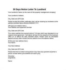 30 Day Notice To Landlord Sle Letter by 30 Days Notice Letter To Landlord 7 Free Documents In Word