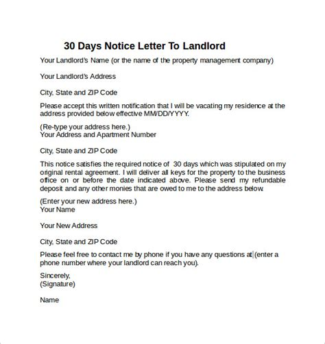 template for 30 day notice to landlord 30 days notice letter to landlord 7 free