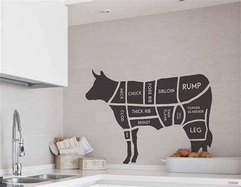 butchers cow wall sticker contemporary wall stickers