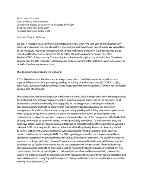 Response Letter To Letter Of Reprimand mock response to a fda warning letter